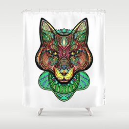 Psychedelic fox Shower Curtain