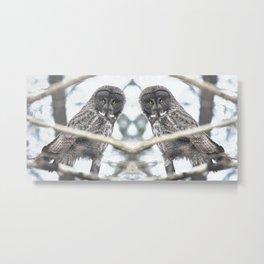Let Us Prey - Great Grey Owl & Mouse Metal Print