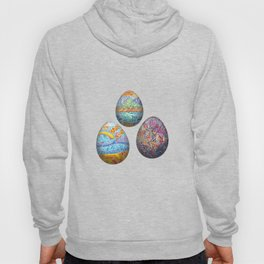 Colorful easter eggs on white background Hoody
