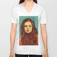 daria V-neck T-shirts featuring Daria Sidorchuk by Jakub Cichecki