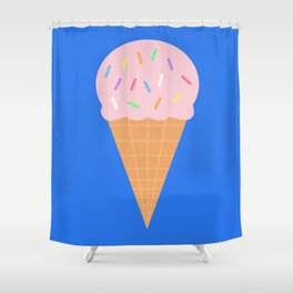 Sweet Ice cream cone with blue background Shower Curtain