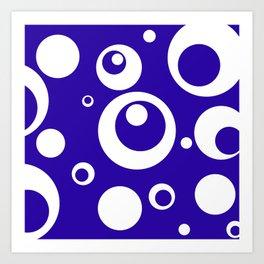 Circles Dots Bubbles :: Blueberry Art Print
