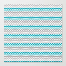 Teal Turquoise Blue Grey Gray Chevron Ombre Fade Canvas Print