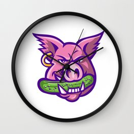Pink Pig Biting Pickle Mascot Wall Clock