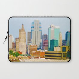 Downtown Kansas City Skyline Tilt Shift Photograph Laptop Sleeve