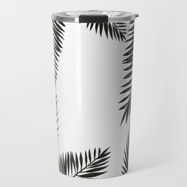 Black Watercolor Tropical Leaves Travel Mug