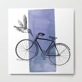 Humming Bird and Bicycle on Purple Watercolor Wash Metal Print