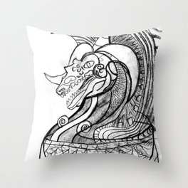 Dragon in pot Throw Pillow