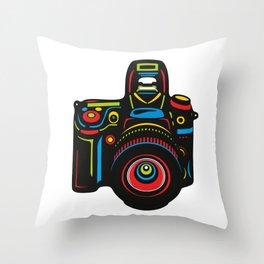 Black Camera Throw Pillow