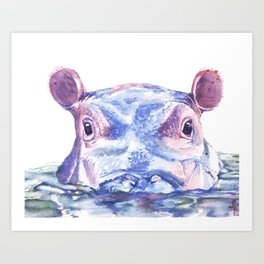 Happy Hippo Fiona Art Print