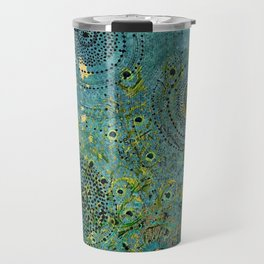 Blue & Green Abstract Art Collage Travel Mug