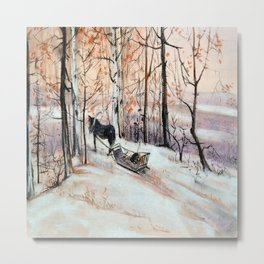 Sledging in the winter forest Metal Print