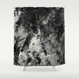 Impossibility - Textured, black and white abstract Shower Curtain