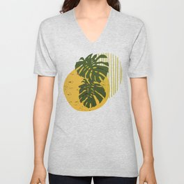 The Two Twin Leaves, Abstract Art Tropical Leaves, Summer  Illustration Unisex V-Neck