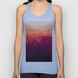 Sunset in the woods Unisex Tank Top
