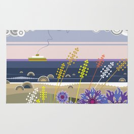 Sea landscape with wildflowers and ferry boat Rug