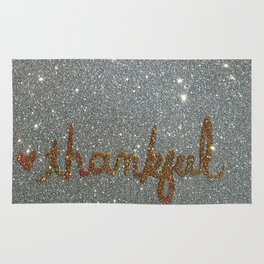 Thankful Holiday Glitter Card Rug
