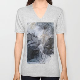 Calm but Dramatic Light Monochromatic Black & Grey Abstract Unisex V-Neck