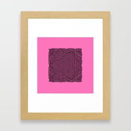 Black abstract pattern on pink bakground Framed Art Print