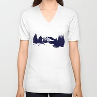 robin hood V-neck T-shirts featuring Mt. Hood by Leah Flores