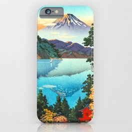 Tsuchiya Koitsu - Lake Ashi in the Hakone Hills in early Autumn - Japanese Vintage Woodblock iPhone Case