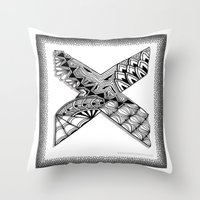 xmen Throw Pillows featuring Zentangle X Monogram Alphabet Illustration by Vermont Greetings