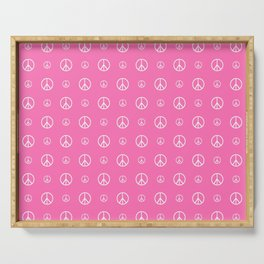 Peace and love 5 - pink Serving Tray