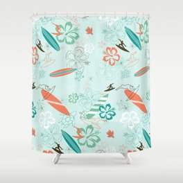 Surfs Up Blue Shower Curtain