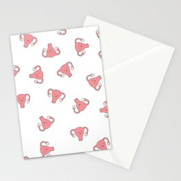 Crazy Happy Uterus in White, Large Stationery Cards