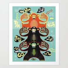 Traffic light monkey Art Print