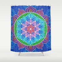 flower of life Shower Curtains featuring Lotus Flower of Life by Elspeth McLean