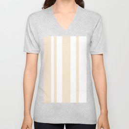 Mixed Vertical Stripes - White and Champagne Orange Unisex V-Neck