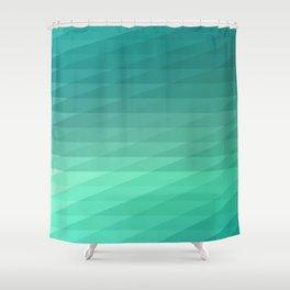 Fig. 043 Mint Green Geometric Diagonal Stripes Shower Curtain