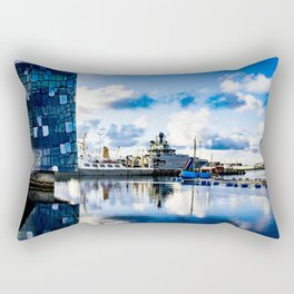 View of Boats on the Sea behind the Harpa Concert Hall in Reykjavik, Iceland Rectangular Pillow
