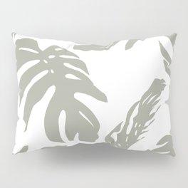 Simply Retro Gray Palm Leaves on White Pillow Sham
