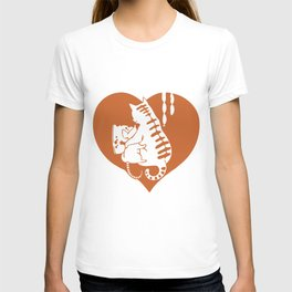 Valentine Cat and Mouse with Cheese and Heart T-shirt