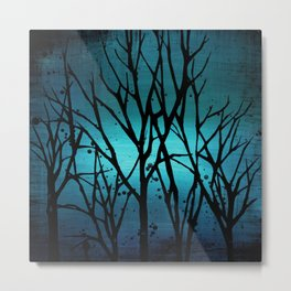 Teal Branch Trees Metal Print