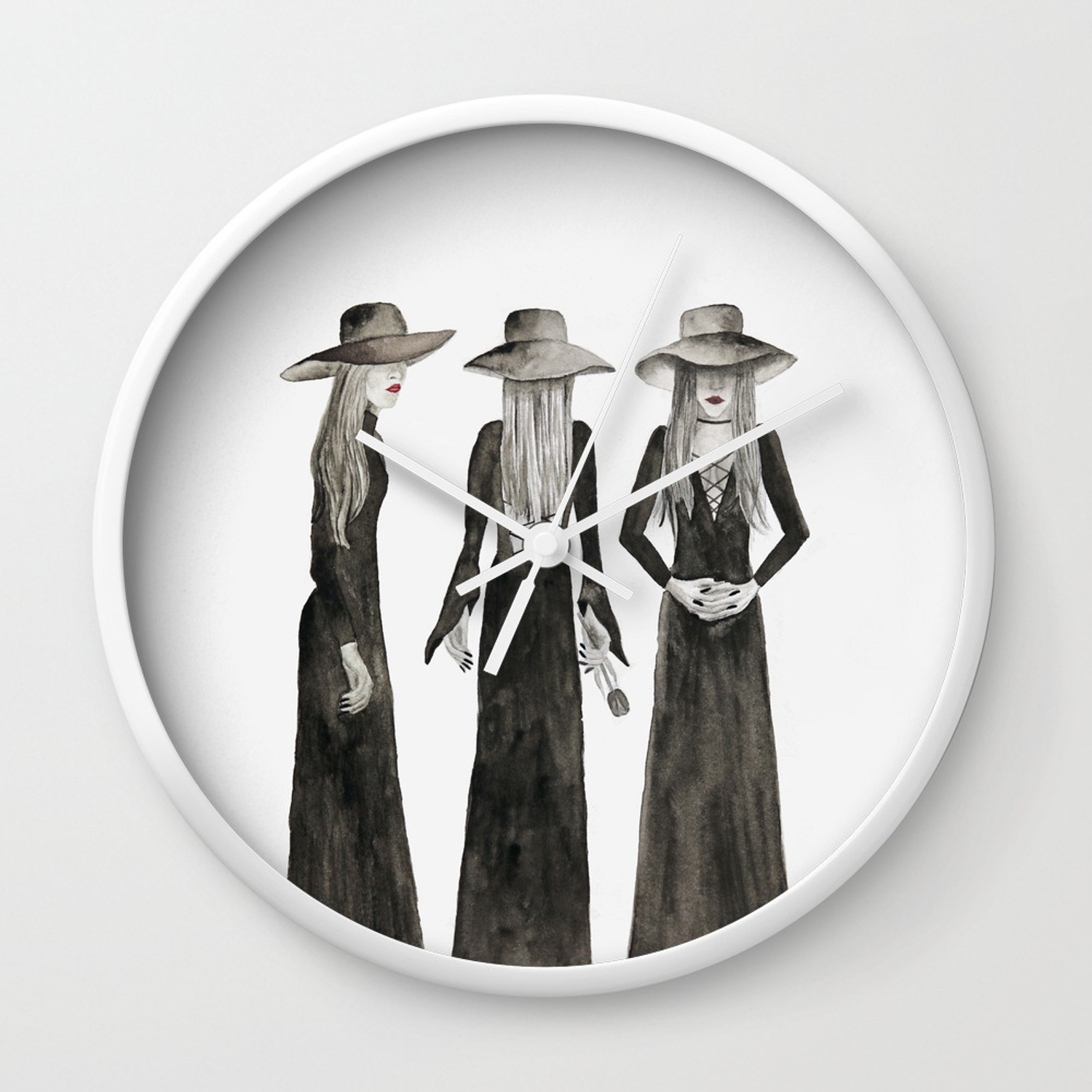 Southern Gothic Witch Coven Watercolor Wall Clock