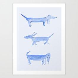 The Blue Dachshund Art Print