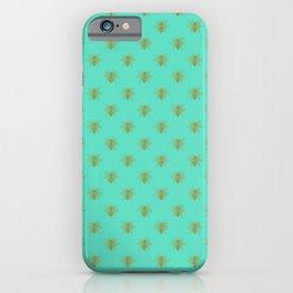 Aqua Blue Golden Wedding Bee iPhone Case