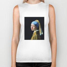 Jan Vermeer Girl With A Pearl Earring Baroque Art Biker Tank