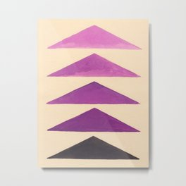 Colorful Purple Geometric Triangle Pattern With Black Accent Metal Print
