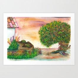 Countryside Watercolor Illustration Art Print