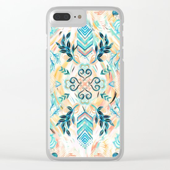 Abstract Painted Boho Pattern in Cyan & Teal Clear iPhone Case