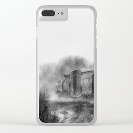 Winter LocomotionIII Black and White Clear iPhone Case