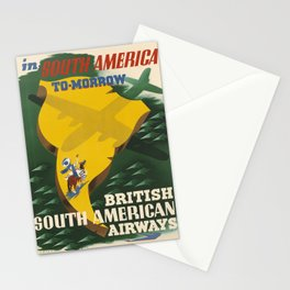 Werbeplakat South America To-Morrow voyage poster Stationery Cards
