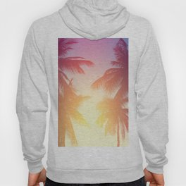 Coconut palm tree at tropical beach, colorful vintage tones Hoody