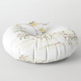 Birds and flowers - Japanese inspired watercolour Floor Pillow