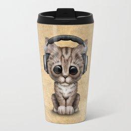 Cute Kitten Dj Wearing Headphones Travel Mug