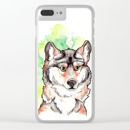 Mexican Gray Wolf Bust Clear iPhone Case